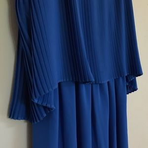 Double Layer Sky Blue Strappy Pleated Dress